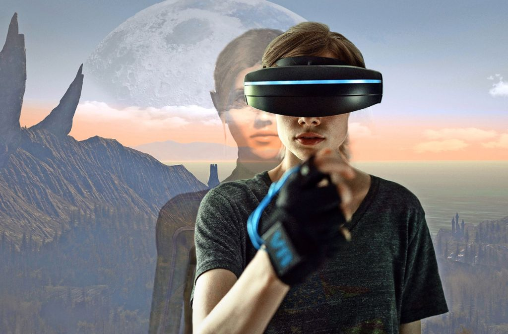 Jennifer (Emma Bading) taucht mit VR-Brille ins Fantasy-Reich ab.    Foto:ARD Degeto/BR/Alexander Fischerkoesen Foto:
