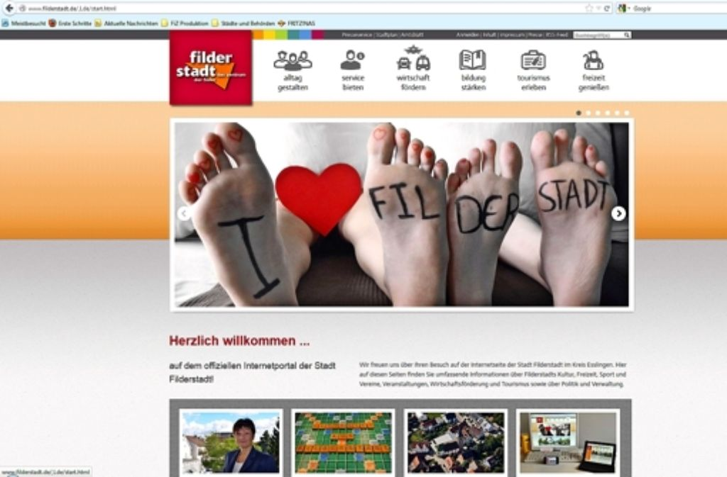 Die neue Homepage ist in den Farben orange, grau und rot gehalten. Sie ist seit Montag so zu sehen. Screenshot: Foto: Norbert J. Leven