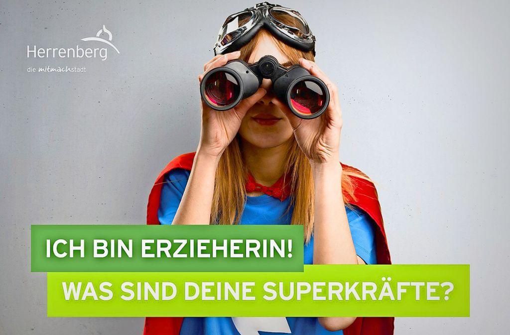 Mit Werbe-Humor und Superhelden-Klischee versucht die Stadt, Fachpersonal zu locken. Foto: Stadt Herrenberg