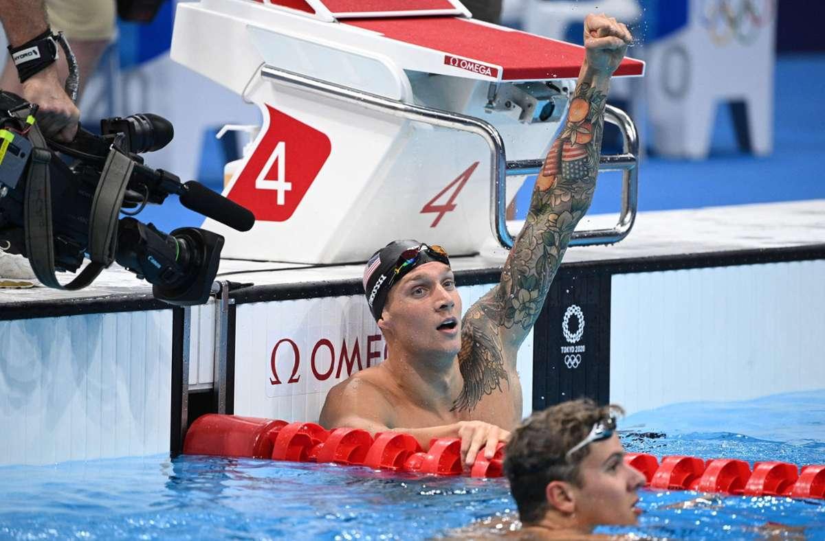 Caeleb Dressel gewinnt Gold mit Weltrekord über 100 Meter Schmetterling. Foto: AFP/OLI SCARFF
