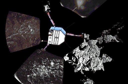 Aufnahmen vom dunklen Kometen – Philae ist zur Orientierung eingezeichnet. Foto: dpa