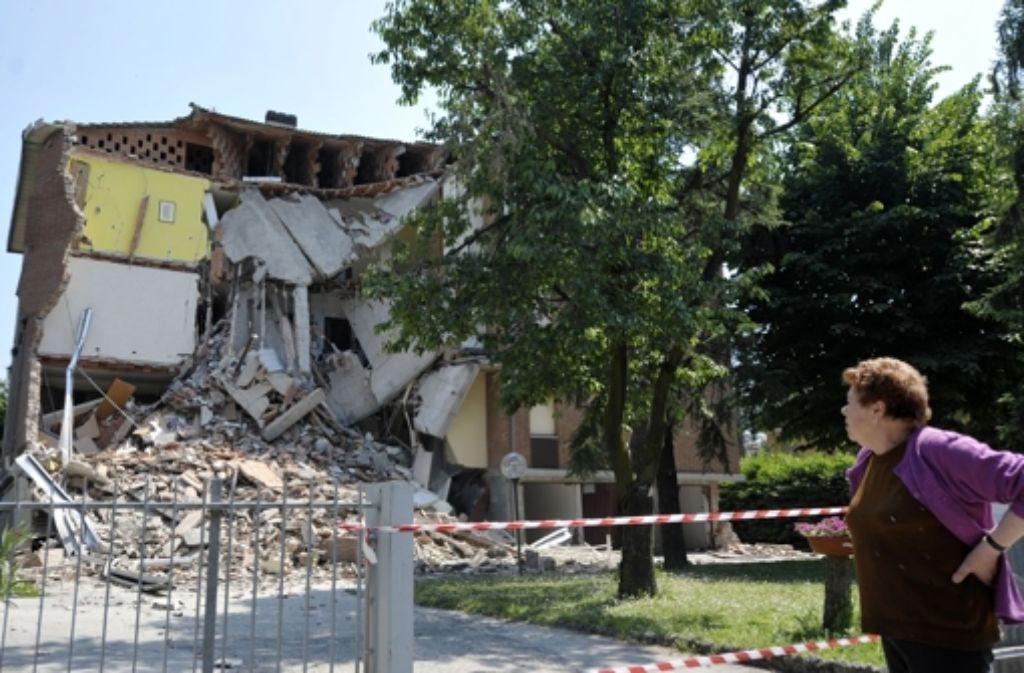 Eine Kirche in Mirandola ist nach dem neuen Beben  schwer zerstört Foto: AP