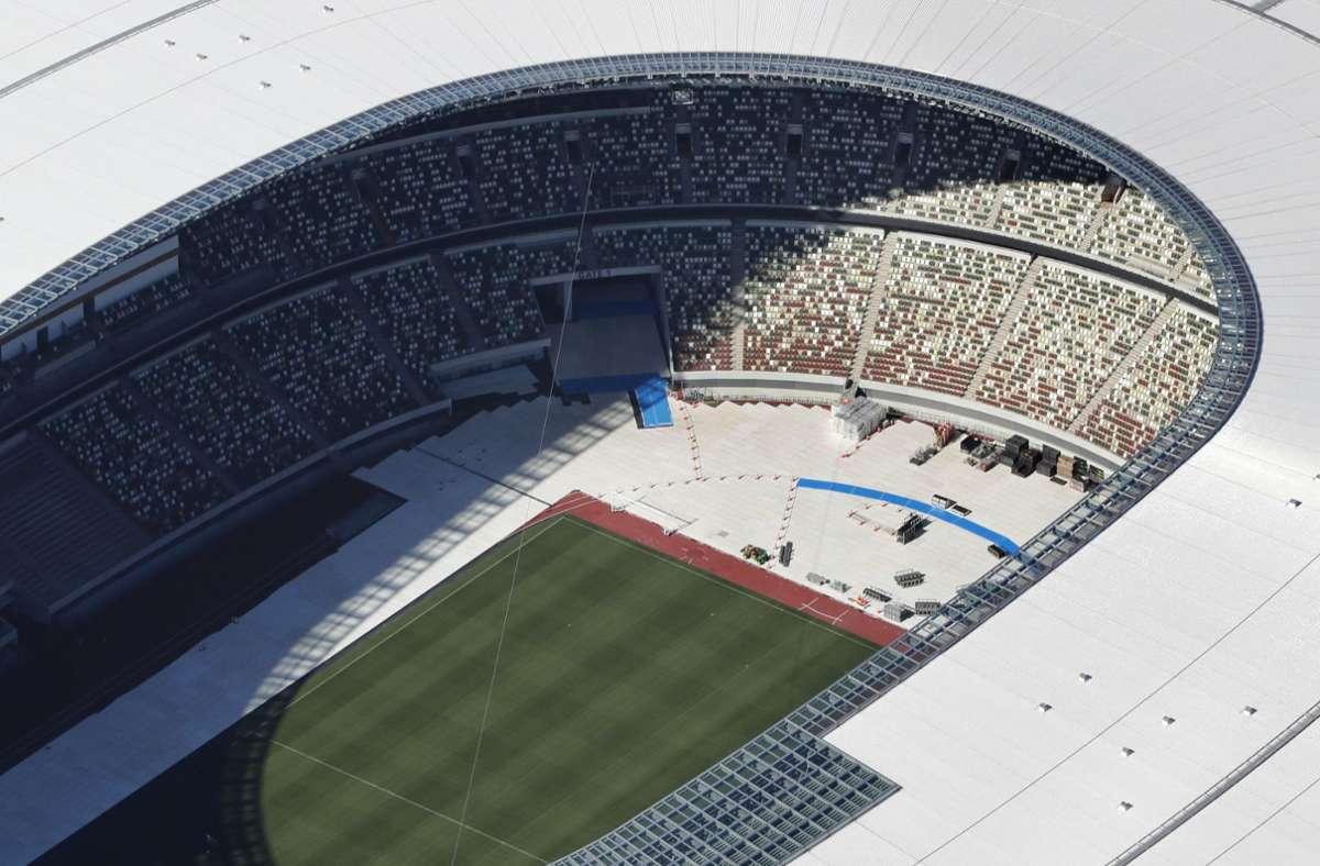 Luftaufnahme des Nationalstadions in Tokio vor den Spielen Foto: dpa/Uncredited