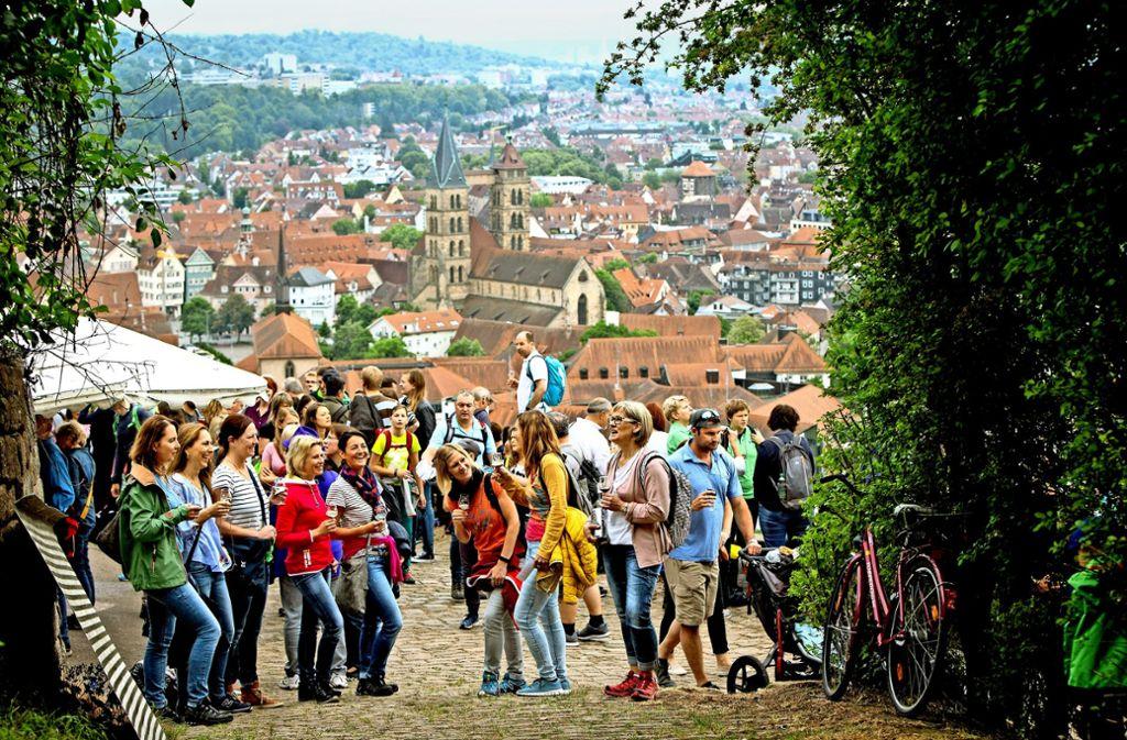 Viele Besucher freuten sich über Geselligkeit und Wein vor historischer Kulisse. Foto: Michael Steinert