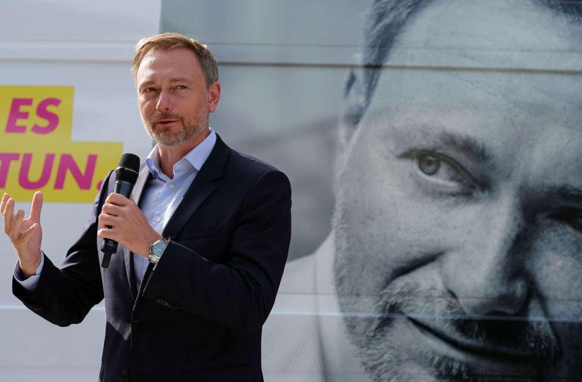 Der Parteivorsitzende der FDP Christian Lindner spricht bei einer Wahlkampfveranstaltung in Stuttgart. Foto: LICHTGUT/Leif Piechowski/Leif Piechowski