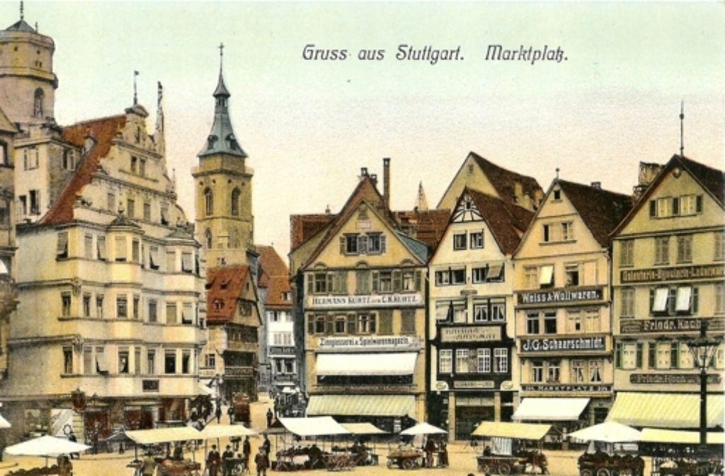 Marktstände und familiengeführte Geschäfte ringsum. Dieses Foto zeigt den Marktplatz im Jahr 1902. In unserer Bildergalerie blicken wir auf seine Geschichte zurück. Foto: VZZZ-Chronist Peter Knauber