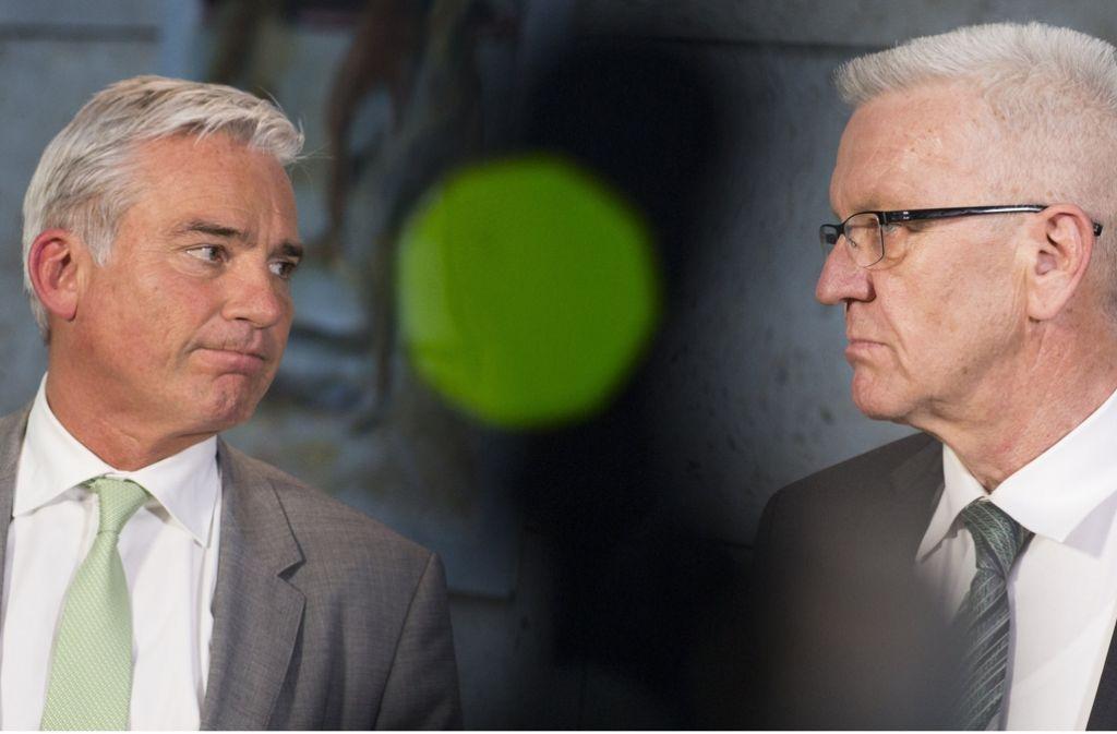 Thomas Strobl (CDU) und Winfried Kretschmann (Grüne) sind sich in Sachen Gemeinschaftsschulen näher gekommen. Foto: dpa