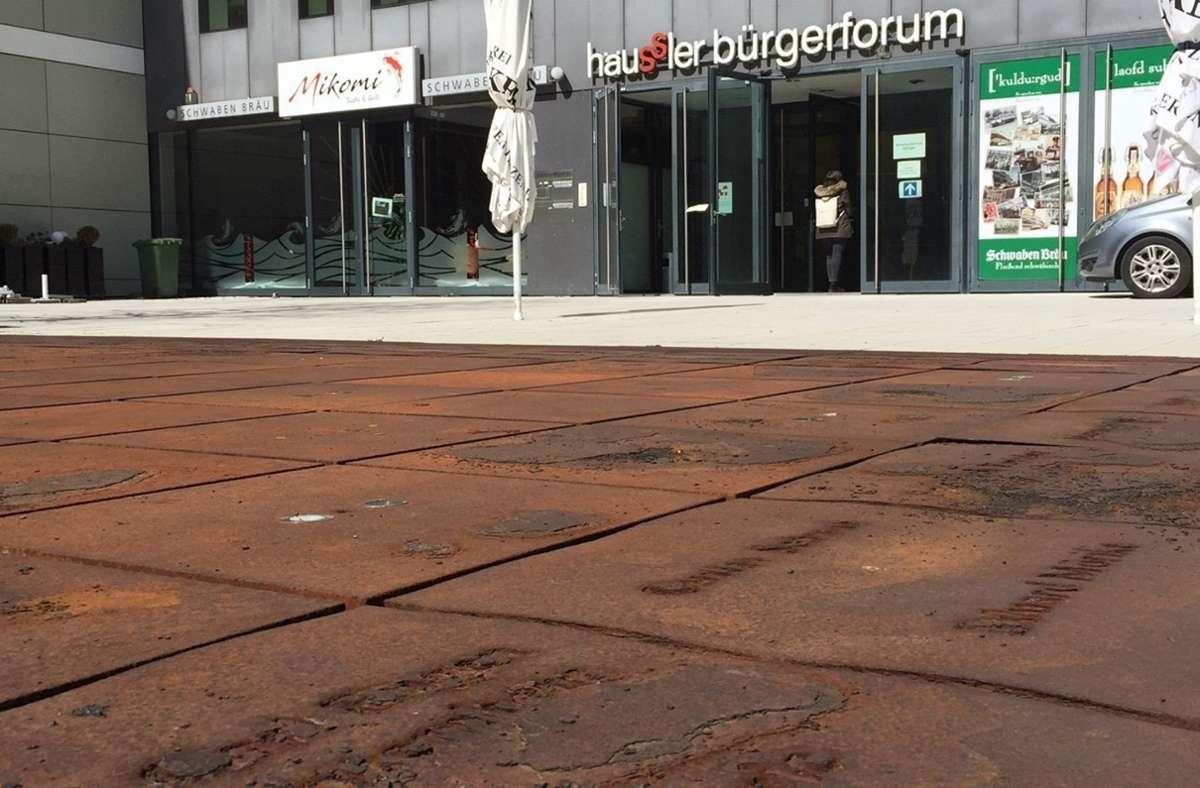 Eisenplatten im Schwabenbrunnen: Die Namen  bröseln weg. Foto: privat