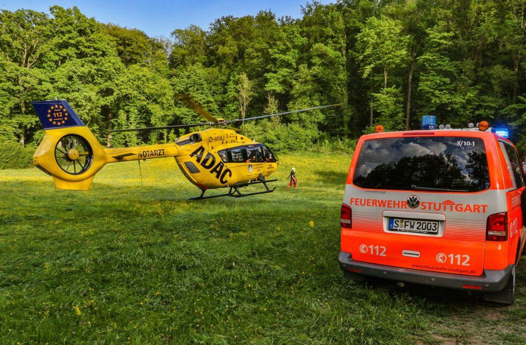 Der verunglückte Mountainbiker musste mit einem Rettungshubschrauber in ein Krankenhaus geflogen werden. Foto: imago images/KS-Images.de/Karsten Schmalz via www.imago-images.de