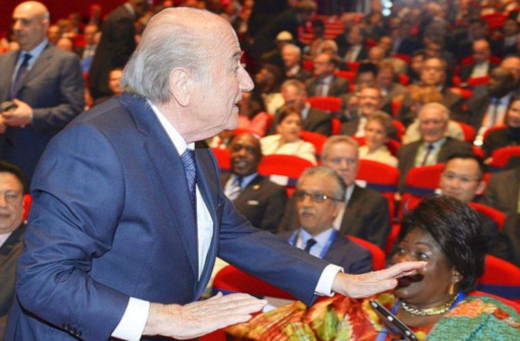 Fifa-Präsident Joseph Blatter bei der Eröffnung des Kongresses in Zürich. Foto: dpa