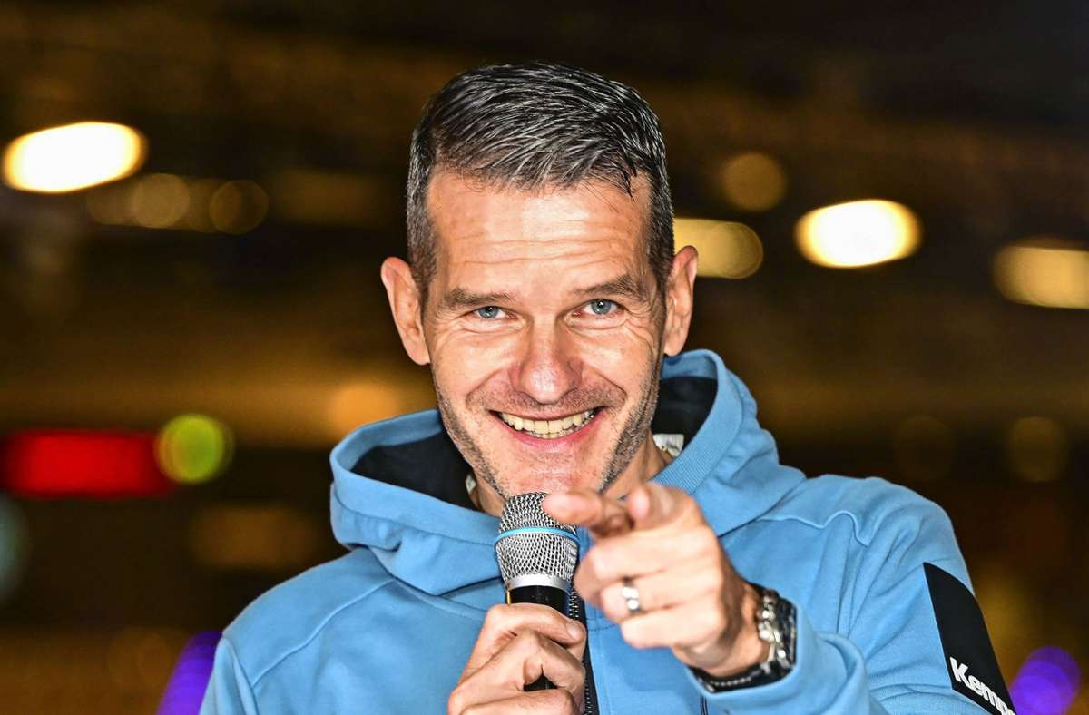 Jens Zimmermann als Moderator beim Handball-Bundesligisten TVB Stuttgart Foto: /Jens Körner