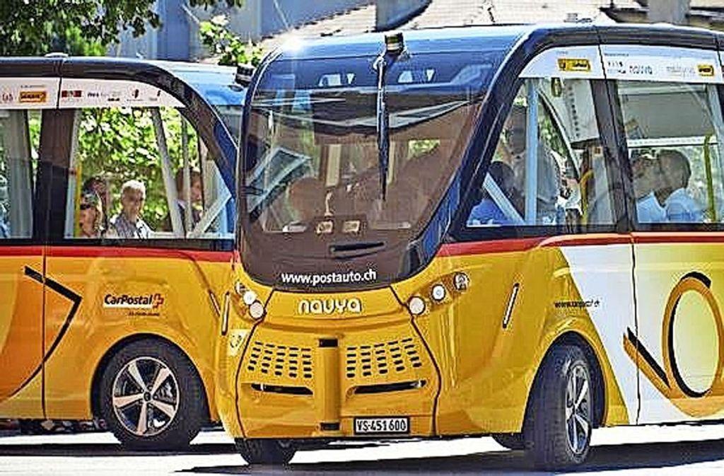 Vorbild Schweiz: Die dortige Postauto-Gesellschaft erprobt selbstfahrende Shuttle-Busse. Foto: Postauto