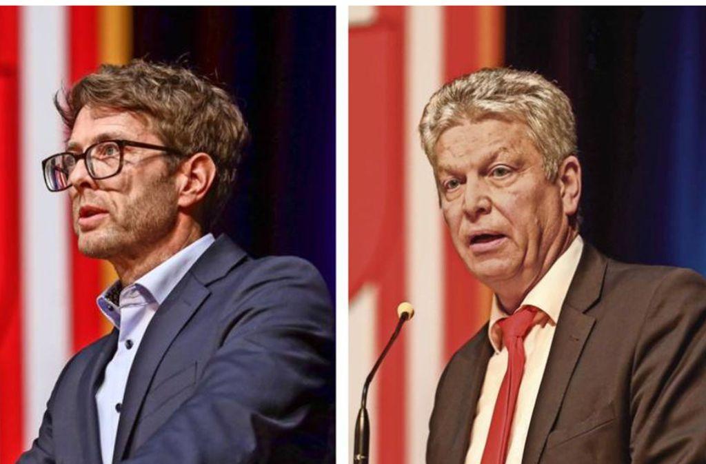 Jürgen Kessing (rechts) will es ein drittes Mal  wissen. Doch auch Stephan Muck möchte ins Rathaus Bietigheim-Bissingen einziehen. Gewählt wird der Oberbürgermeister am 8. März. Foto: