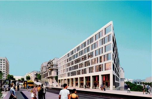 Der Neubau erhält einen Zugang von der neuen Stadtbahnbrücke über die Wolframstraße. Links hinten zu erkenne: Die Stadtbibliothek. Foto: Eike Becker_Architekten