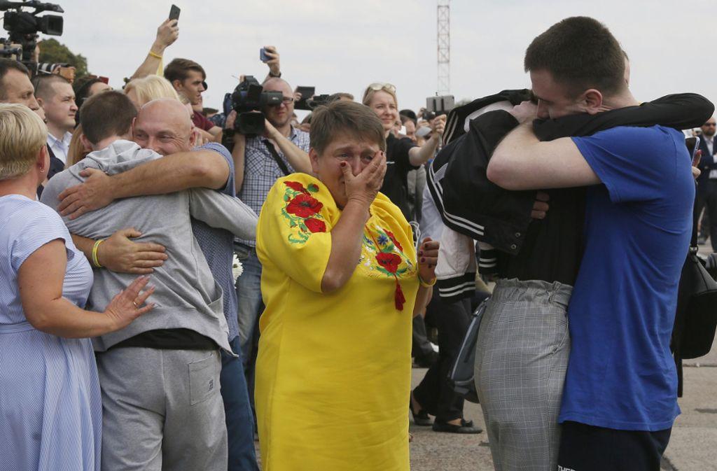 Emotionales Wiedersehen in Kiew. Foto: dpa/Efrem Lukatsky