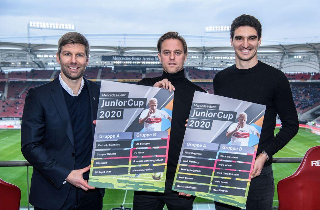 Thomas Hitzlsperger, Timo Hildebrand und Marcin Kaminski (von links) freuen sich schon auf den Juniorcup in Sindelfingen. Foto: Mercedes-Benz