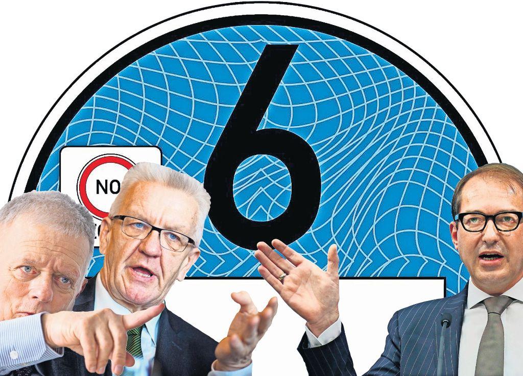 Gegner im Kampf um die Blaue Plakette: Was sich OB Kuhn und  Ministerpräsident  Kretschmann wünschen, verweigert Bundesverkehrsminister Dobrindt. Foto: dpa (3), GreenZones