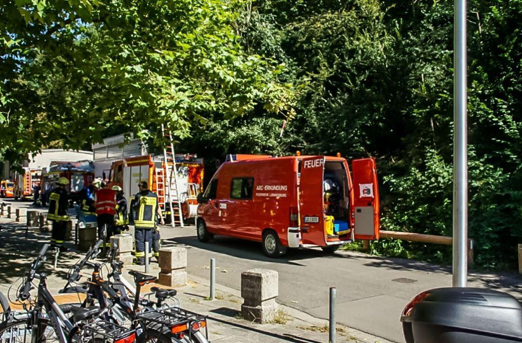 Die Ludwigsburger Feuerwehr musste am Mittwoch ins Freibad Hoheneck ausrücken. Weitere Bilder zum Einsatz in unserer Bildergalerie. Foto: SDMG