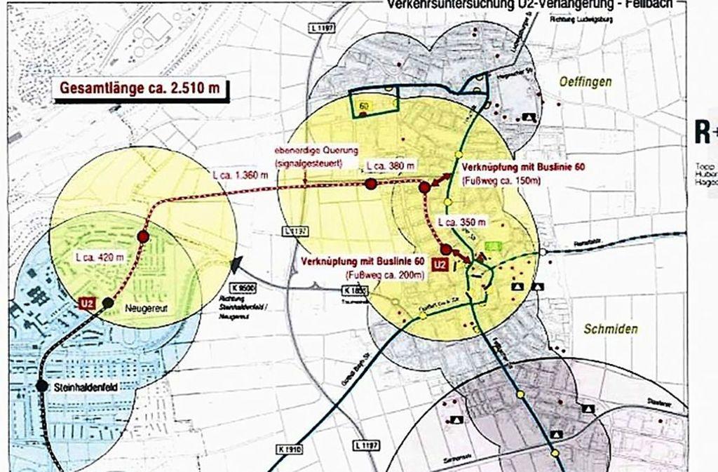 Bisher nicht mehr als eine Grobskizze: Eine nach Schmiden verlängerte Stadtbahnlinie würde die Höhenstraße wohl ebenerdig kreuzen. Foto:
