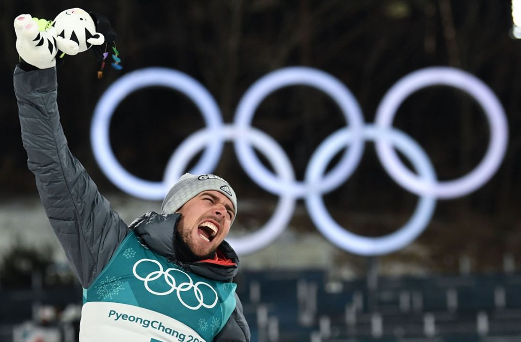 Johannes Rydzek hat bei Olympia 2018 in Pyeongchang Gold in der Nordischen Kombination gewonnen. Foto: AFP