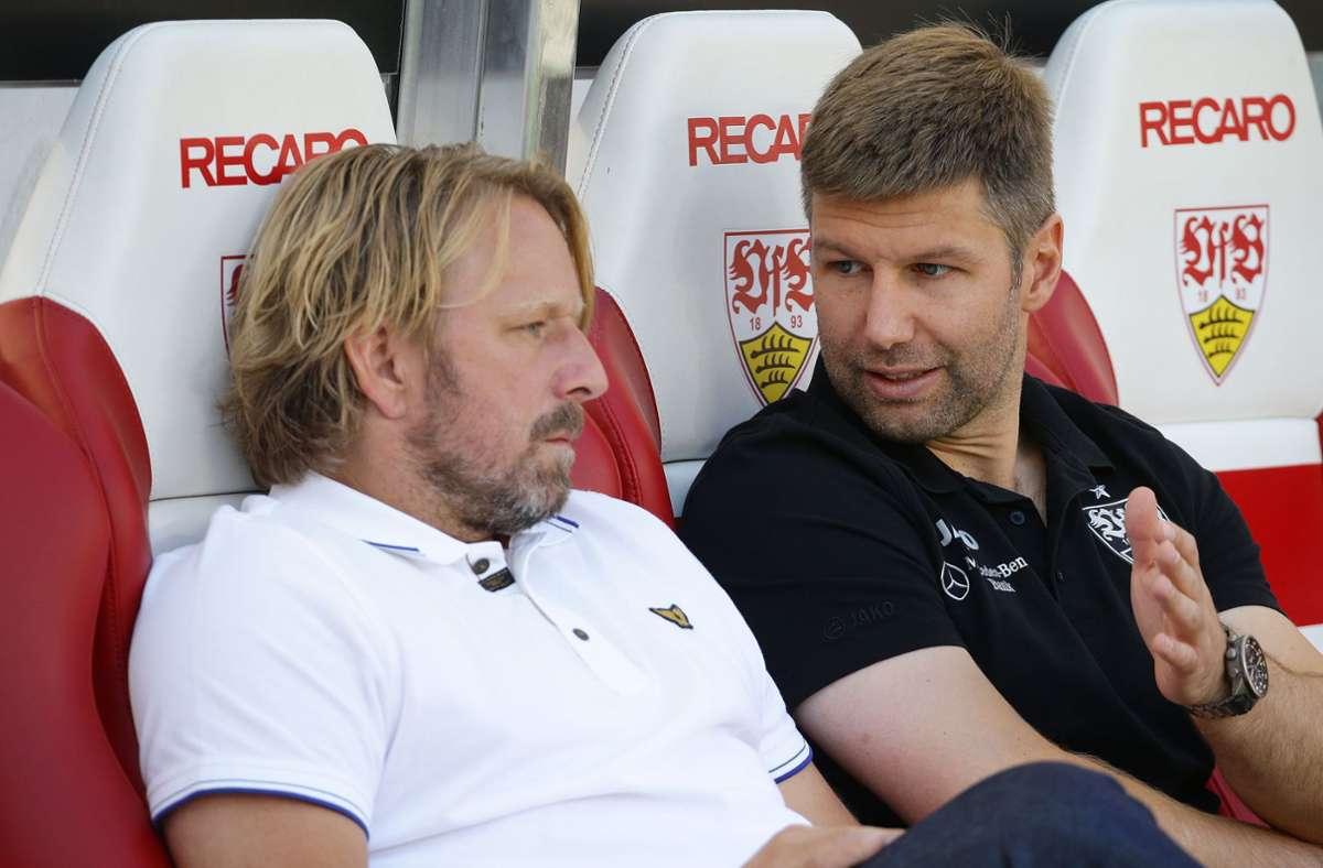 Erfolgreiches Duo im sportlichen Bereich beim VfB Stuttgart: Sportdirektor Sven Mislintat (li.) und Sportvorstand Thomas Hitzlsperger. Foto: Baumann