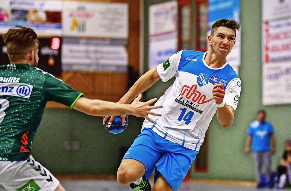 Fynn  Nicolaus, hier bei einem Spiel in der A-Jugend-Bundesliga  gegen Frisch Auf Göppingen, zählt zu den größten Handballtalenten in Deutschland.  Foto: imago/Jens Körner Foto: