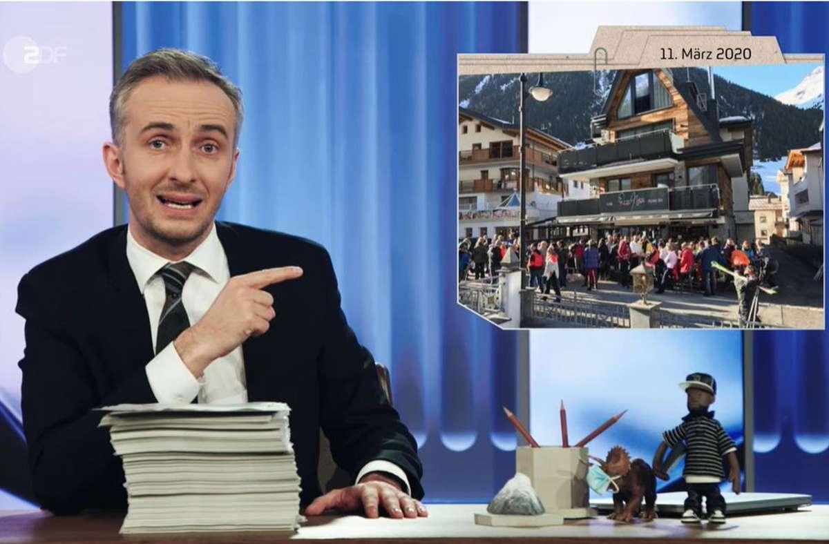 Jan Böhmermann zeigt ein Bild vom launigen Treiben in Ischgl im März 2020 – nach  der offiziellen Stilllegung des Tourismusbetriebs. Foto: ZDF/Screenshot