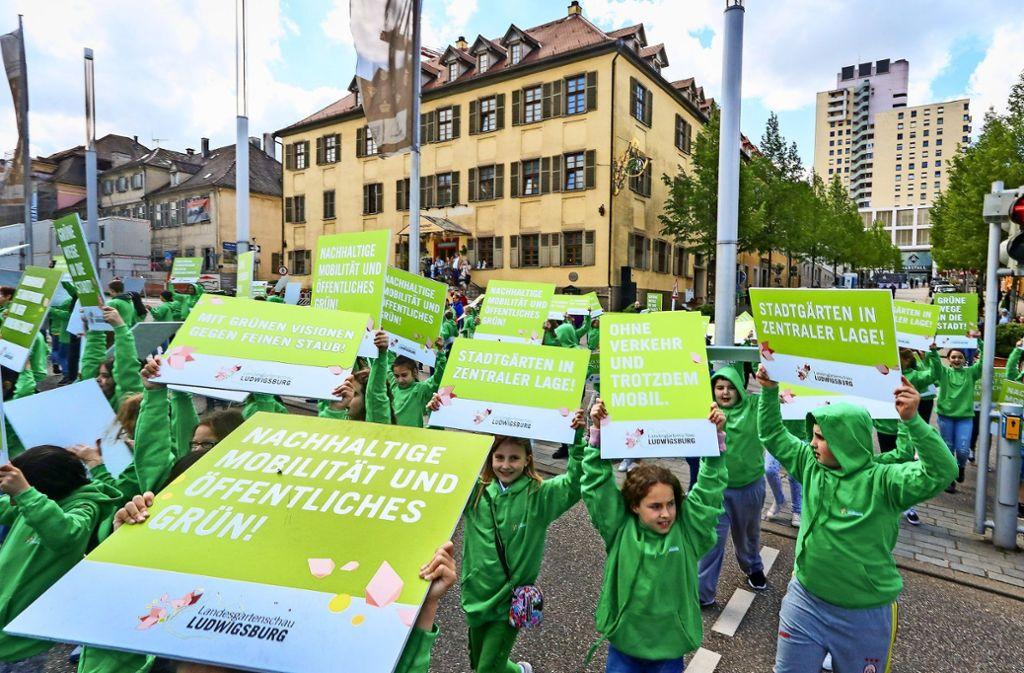 Mit einem Flashmob haben Schüler im Arpil für eine Gartenschau Ludwigsburg geworben – allerdings ohne Erfolg. Foto: factum/Granville