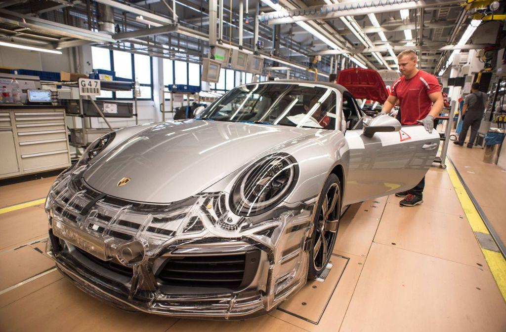 Die Arbeitsplätze bei Porsche sind vorerst sicher. Foto: imago images/Lichtgut/Max Kovalenko