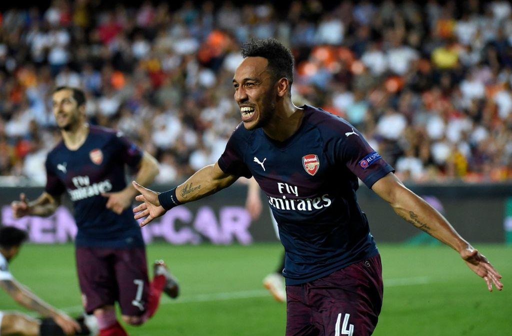 Arsenals Torschütze Pierre-Emerick Aubameyang feiert seinen dritten Treffer in dem Europa League Spiel gegen   Valencia Foto: AFP