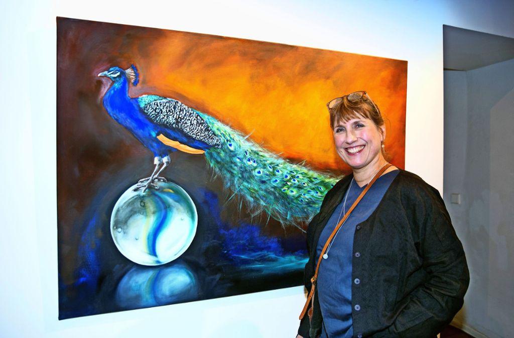 Sabine Fleischmann vor einem ihrer Werke Foto: /Horst Rudel