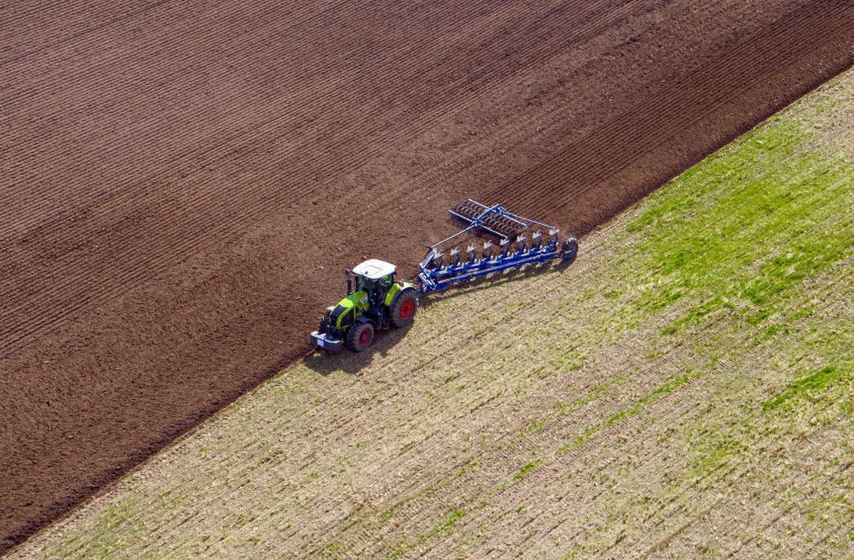 Landwirt pflügt ein abgeerntetes Feld. Foto: dpa/Jens Büttner