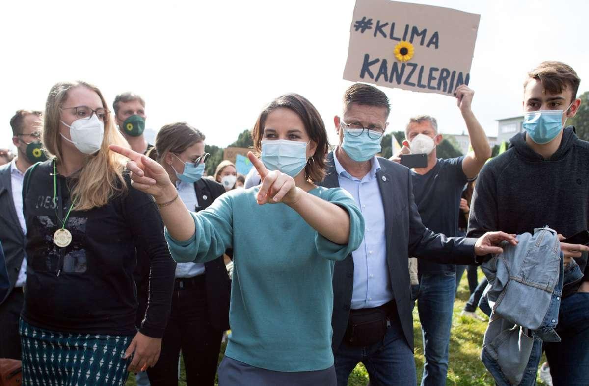 Annalena Baerbock bei Klimaprotesten in Köln Foto: dpa/Federico Gambarini