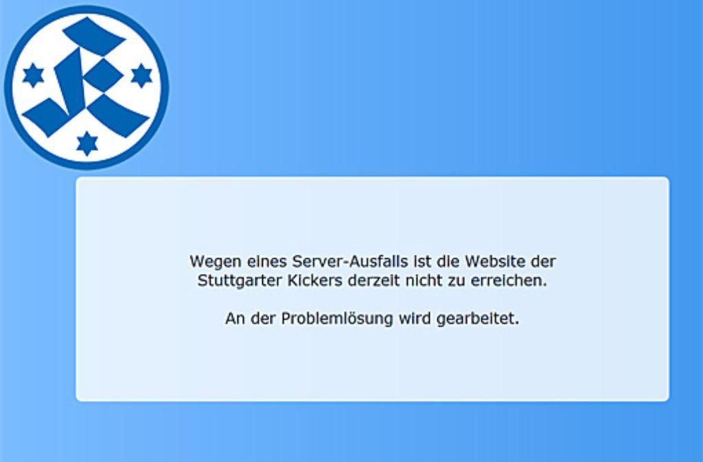 """Wegen einer defekten Festplatte ist die Homepage der Stuttgarter Kickers  bereits seit einer Woche """"nicht zu erreichen"""". Eine Lösung soll  schnellstmöglich her. Foto: SIR/Screenshot"""
