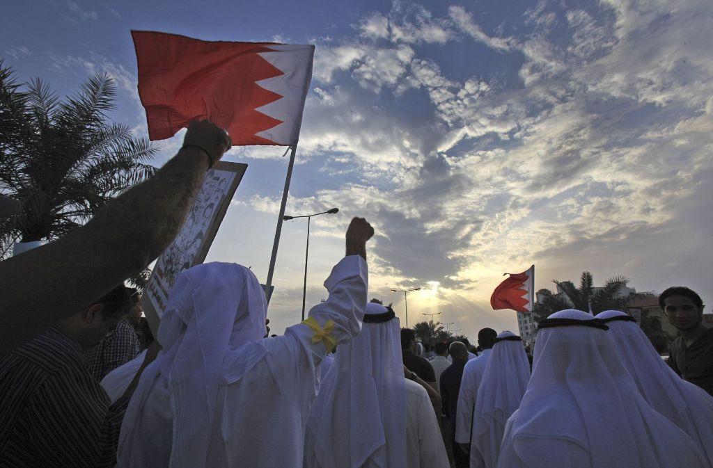 Anhänger der Demokratie-Bewegung demonstrieren in Bahrain auf der Straße. (Archivfoto) Foto: AP