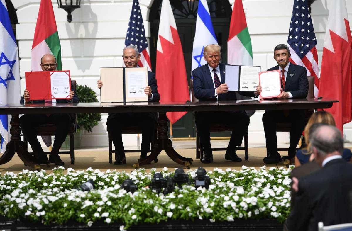 Die Länder besiegelten das Abkommen mit Israel im Weißen Haus. Foto: AFP/SAUL LOEB