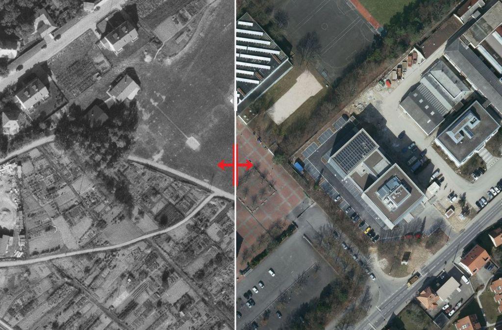955 war vom Königin-Charlotte-Gymnasium am heutigen Standort noch nichts zu sehen. Damals befand sich die Schule noch an der Zellerstraße. Foto: Stadtmessungsamt/Plavec