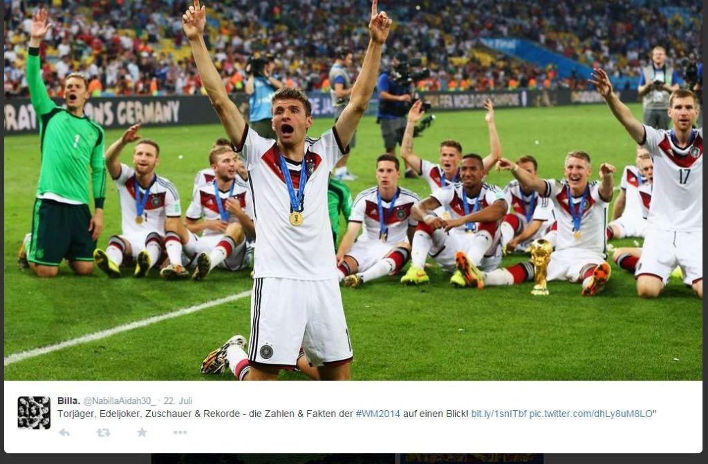 Nichts hat die Twitter-User 2014 so bewegt wie Deutschlands WM-Sieg in Brasilien.  Foto: Screenshot
