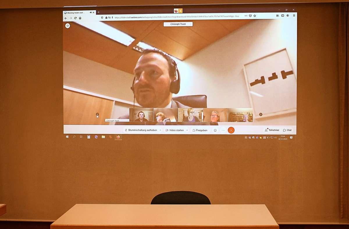 Der OB im Livestream Foto: Caroline Holowiecki