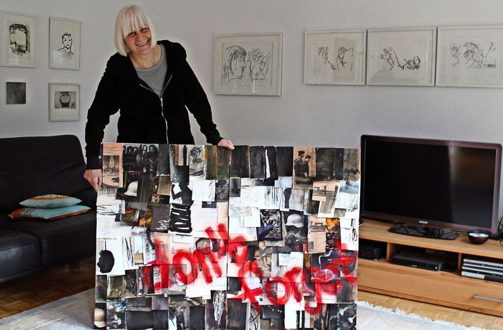 """Regine Richter hat in ihren Beitrag zum Thema """"Kunst gegen Rechts"""" persönliche Erinnerungen einfließen lassen. Foto: Sabine Schwieder"""