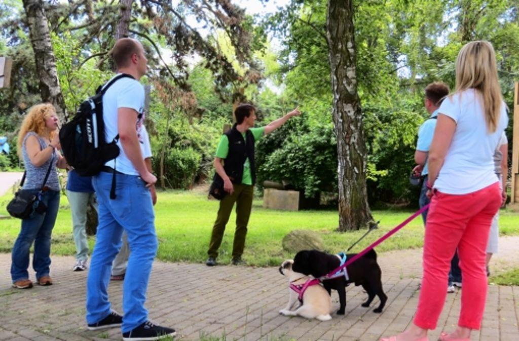 Oliver Mirkes (Mitte) informiert die Teilnehmer über die Hajek-Anlage Foto: red