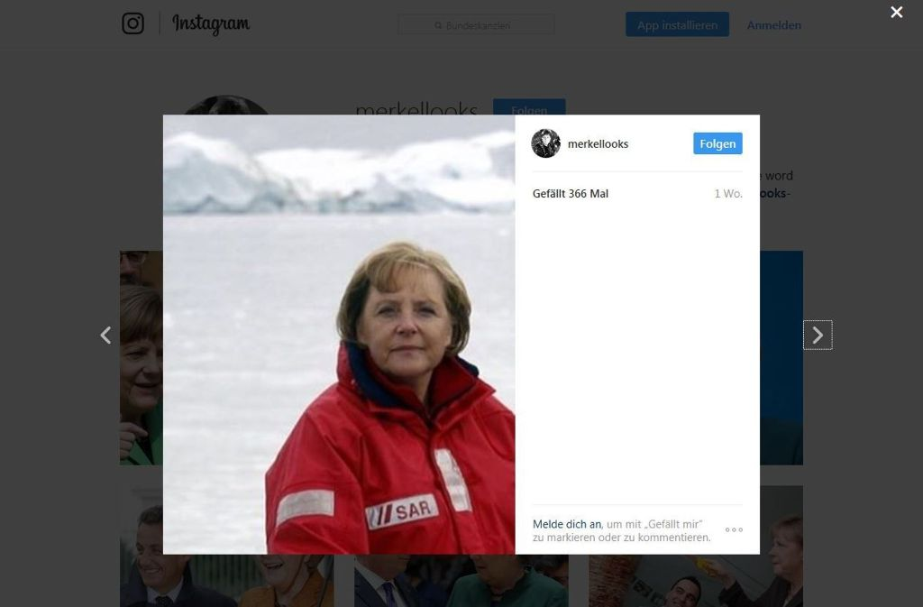 Angela Merkel, wie man sie selten sieht. Screenshot: https://www.instagram.com/merkellooks/