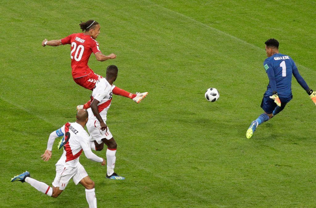 Yussuf Poulsen erzielte den Siegtreffer für Dänemark. Foto: AP