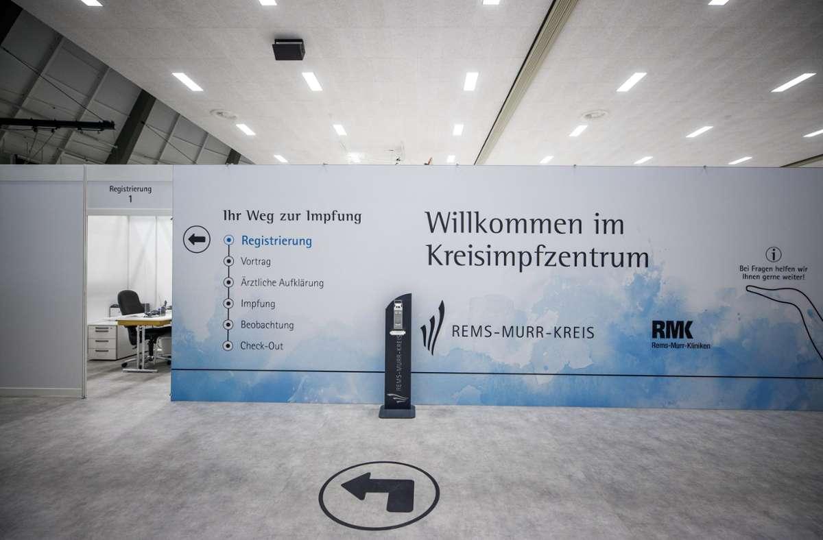 Das Kreisimpfzentrum in Waiblingen erhält vom Land 4000 zusätzliche Impfdosen des Herstellers Astrazeneca. Foto: Gottfried Stoppel/Gottfried Stoppel