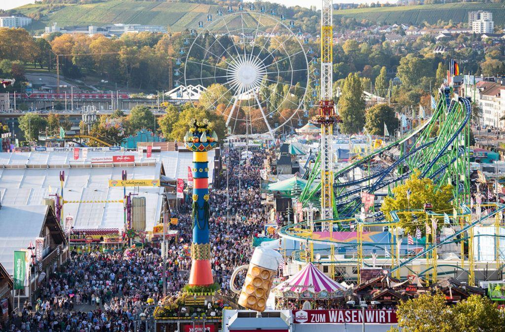 Solche Bilder wird es 2020 nicht geben: Das Cannstatter Volksfest fällt der Coronakrise zum Opfer. Foto: dpa/Tom Weller