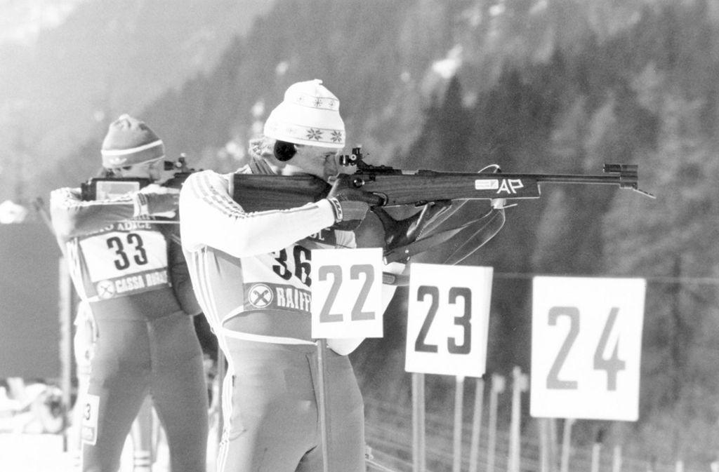 Peter Angerer bei der Biathlon-WM 1983 in Antholz – ein Jahr später gewann der Deutsche Olympia-Gold in Sarajewo.Gottlieb Taschler 2016 als OK-Chef von Antholz Foto: imago