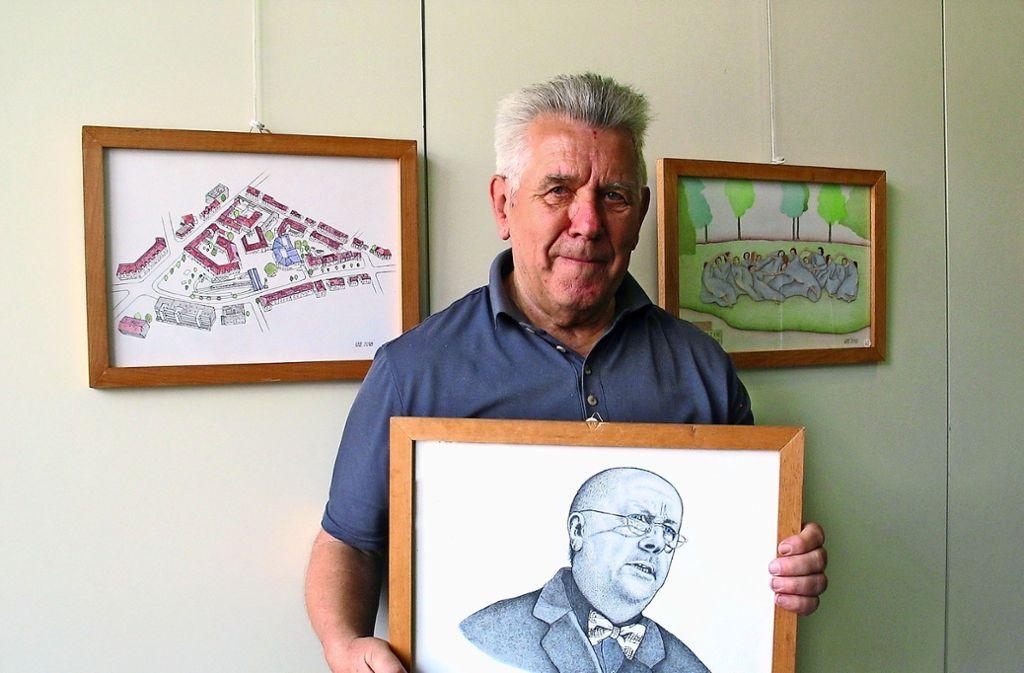 Wolfgang Bartsch mit seinem  Lieblingsbild in der Ausstellung. Es zeigt  Derrick Jenkins, einen befreundeten Schauspieler. Foto: Susanne Müller-Baji