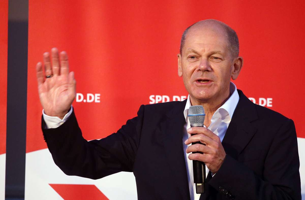 SPD-Kanzlerkandidat Olaf Scholz bei einer Wahlkampfveranstaltung in Berlin. Foto: dpa/Wolfgang Kumm