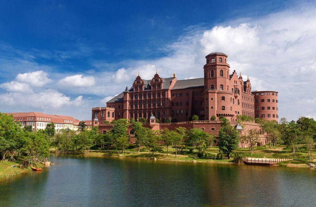 Auf dem Ox Horn Campus in Shenzhen ist das Heidelberger Schloss nachgebaut worden. Foto: Huawei
