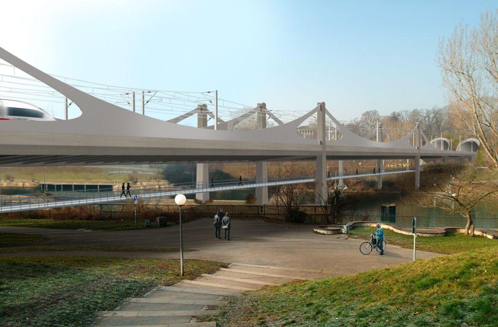 So soll die neue Bahnbrücke über den  Neckar aussehen. Foto: bgp design